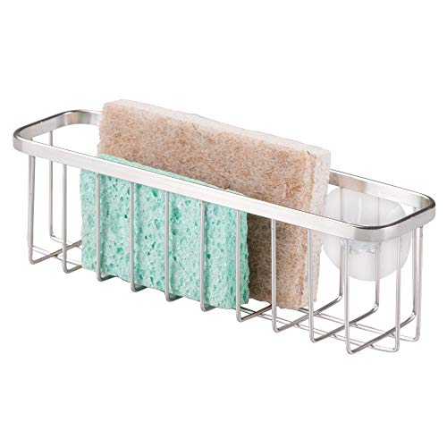 InterDesign Gia Suction Kitchen Sink Caddy, Extra Large Holder for Sponges and Kitchen Accessories - Polished