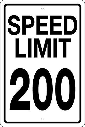 Nascar Parking Sign (Susie85Electra Speed Limit 200 Parking Sign Metal Aluminum Sign Metal Wall Plaque Tin Sign 8 x 12 Racing Fan NASCAR Man Cave Garage)