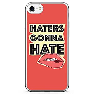 iPhone 7 Transparent Edge Phone Case Haters Phone Case Lips Phone Case College iPhone 7 Cover with Transparent Frame
