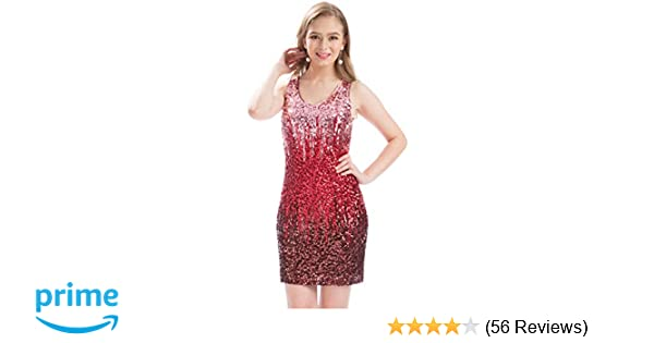 64524a3dc402a Amazon.com  MANER Women s Sexy V Neck Sequin Glitter Bodycon Stretchy Club  Mini Party Dress  Clothing