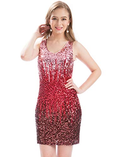 MANER Women's Sexy V Neck Sequin Glitter Bodycon Stretchy Club Mini Party Dress (S, Canyon Rose/Burgundy/Ruby Red) ()