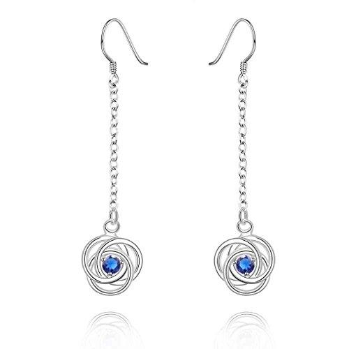 fonk: Hot New Fashion silver plated earings flower blue drip drop pendientes to.us bear bone