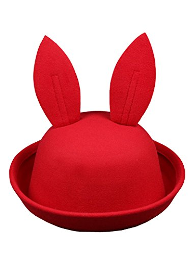 Lujuny Kids Bunny Ear Bowler Hat – Cute Wool Derby Rabbit Cap with Roll-up Brim for Little Girl Boy (Red) ()
