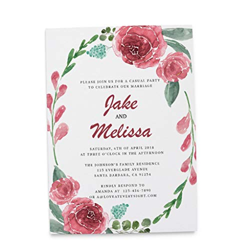 Bohemian Marriage Reception Invitation Ideas, Elopement Reception Announcement, Wedding Party Celebration, Adorable Invitation Set- Envelopes Included, Custom, Personalized Cardstock - Set of 20 ()