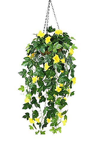 (Lopkey Silk Morning Glory Artificial Flowers Wall Hanging Basket Decor (Yellow))