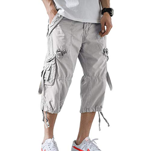DONGD Mens Cargo Shorts Cotton 3/4 Loose Fit Below Knee Capri Cargo Short, 38, Light Grey ()