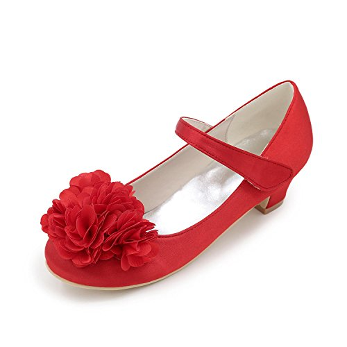 Low L White Winter Fall Heel Red Spring Flower Heels YC Satin Girls' Casual Outdoor Summer CCwqPRr