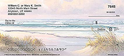 4 Scenes Top Tear Printed Personal Checks with Beautiful Scenes of Vast Ocean Views| A Walk On The Beach 1 Box Checks Personal Duplicates // 100 Checks The Bradford Exchange Personal Checks