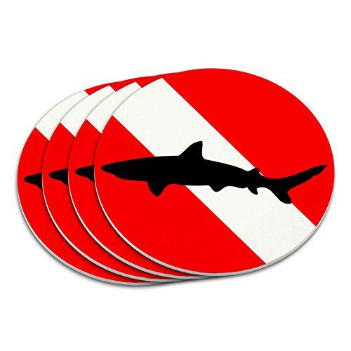 (Diving Flag Scuba Diver Dive Shark Coaster Set)