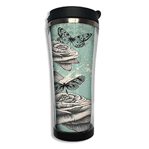 Customizable Travel Photo Mug with Lid - 14.2OZ(420 ml) Stainless Steel Travel Tumbler, Makes a Great Gift by,Rose,Grunge Composition with Hand Drawing Style Roses Butterflies Vintage Artistic ()