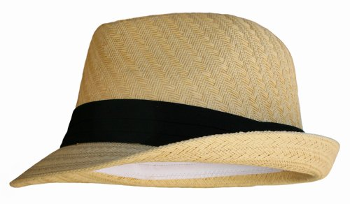 Natural Tan Straw Fedora Hat