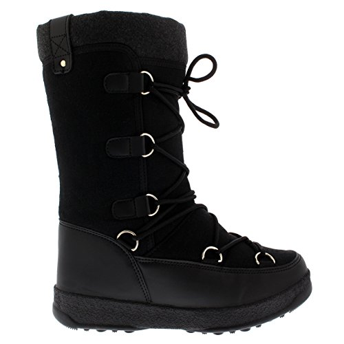 Thermal Fleece Textile Polar Products Boots Knee Black Snow Durable Womens Winter Waterproof tSxq7xT