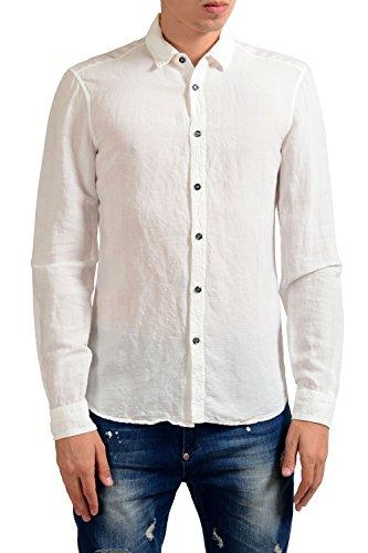 Just Cavalli Men's Linen White Long Sleeve Casual Shirt US S IT 48 Cavalli Linen