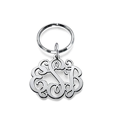 FUJIN 925 Sterling Silver Celebrity Monogram Keychain - Custom Made with Any Initial (Silver)