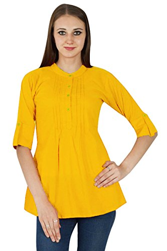 Sundress Robe Vtements pour Tunique Boho Coton Solide Ocre Jaune en Top dEW6qdHf