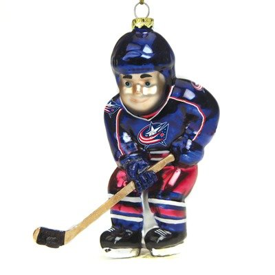 UPC 801946040880, NHL Glass Hockey Player Ornament (Set of 2) NHL Team: Columbus Blue Jackets