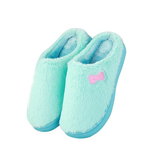 Hevinle Womens Soft Fleece House Winter Cozy Slippers Blue 6PxPqTMp