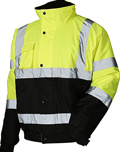 LM High Visibility Class III Reflective Waterproof Bomber Jacket W/Removable Hood 2