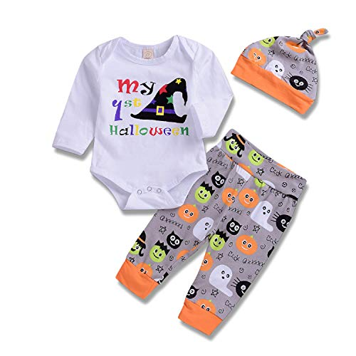 Baby Boy Halloween Outfit Pumpkin Bodysuit My First Halloween Romper with Ghost Pants Clothes (White2, 70/0-6 Months)]()