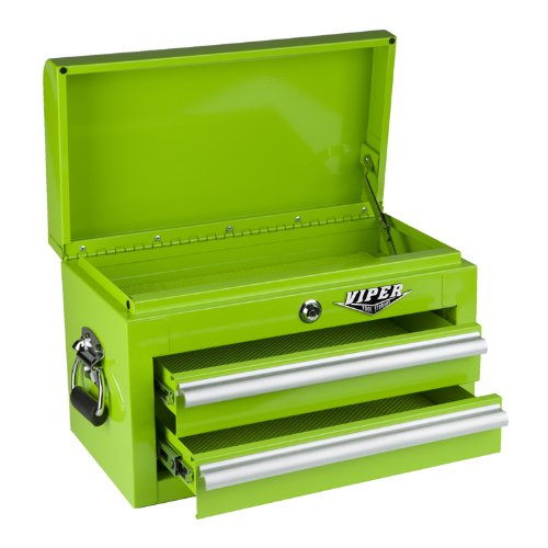 Viper Tool Storage LB218MC 18-Inch 2-Drawer 18G Steel Mini Storage Chest w/ Lid Compartment, Lime Green -