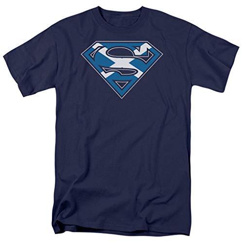 (A&E Designs Superman T-Shirt - Scottish Shield Scotland Adult Navy Blue Tee Shirt (4XL))