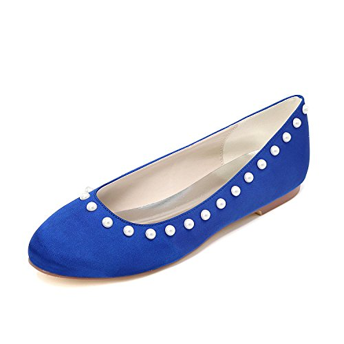Bride'S Color Single P YC Heels Close Multi Flat L Women Toe Blue High Wedding Shoes 8pgOxUPq