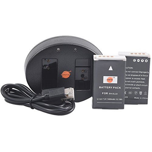 DSTE 2 x EN-EL22 Battery + Dual USB Charger for Nikon 1 J4 Nikon 1 S2 Digital Camera