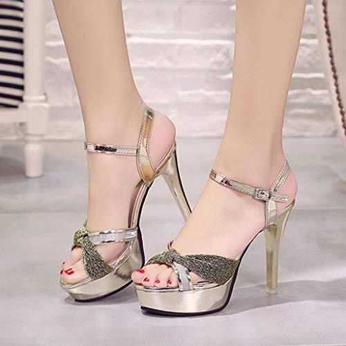 Cm Ceinture De Boucle Stiletto Talon Paillette Talons Simples Pour Femmes Chaussures Sauvage Glod Bijoux Hauts Sandales À 12 awxp7pqR