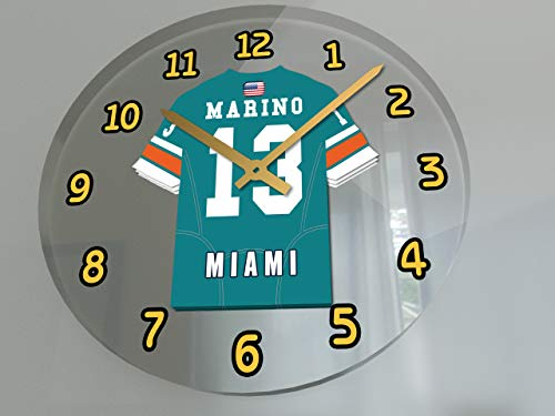 FanPlastic DAN Marino 13 Miami Dolphins Wall Clock - National Football League Legends Edition !! (Marino Miami Dolphins Nfl Football)