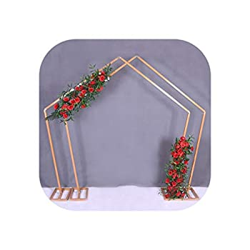 Image of 2pcs Iron Wedding Plinth Arch Decoration Background Stage Stand Wedding Decoration Plinth,250x150cm,Gold Home and Kitchen