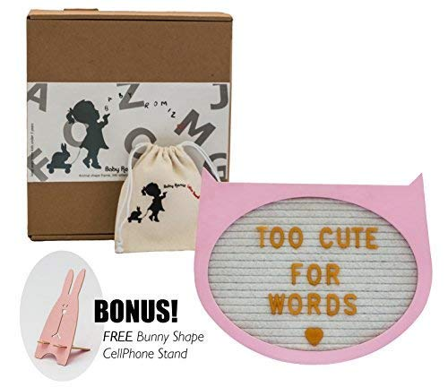 "- Felt Letter Board- Pink Cat 10"" x 9""- Baby Milestone Sign & Kids Room Décor. Perfect Shower Gift. 340 Gold Plastic Changeable Characters, Symbols, Emojis W/Canvas Bag & Free Gift"