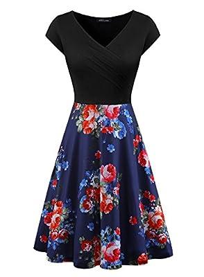 Women's V Neck Cap Sleeve Pocket Floral Print Flared A Line Cocktail Swing Dress