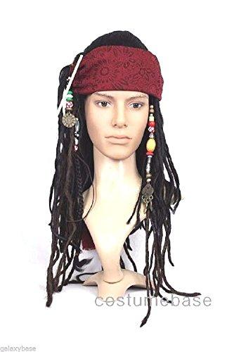 Exact WIG w/ Bandana Dreadlock DLX Jack Sparrow Costume