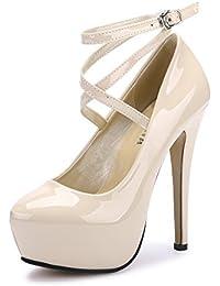 Women's Ankle Strap Platform Pump Party Dress High Heel