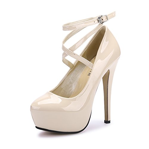 Size 12 Platform Heels (Women's Ankle Strap Platform Pump Party Dress High Heel #10 PU Beige Tag 46 - US B(M))