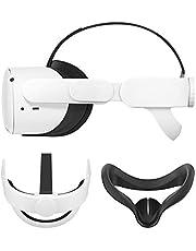 Esimen K3 Elite Strap for Oculus Quest 2 Face Cover, Replacement Head Strap Comfortable Protective Head Strap Reduce Pressure (White+Black)