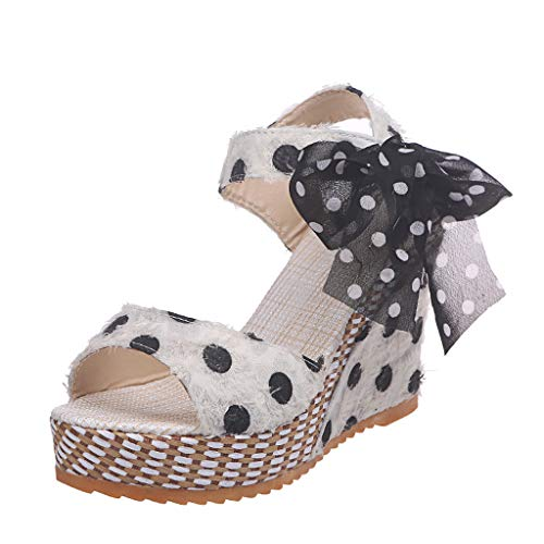 (Cenglings Platform Sandals,Women Open Toe Polka Dot Print Wedges Sandals Tassel Shallow Wedge High Chunky Pumps White)