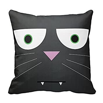 Amazon Decorative Pillow Cover Black Cat Canvas Accent