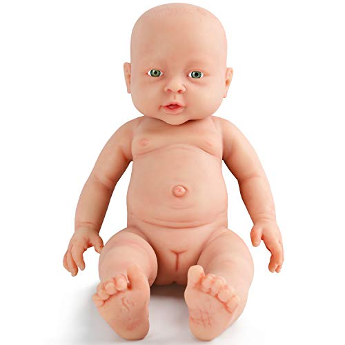 Vollence 16 Inch Realistic Reborn Baby Doll,PVC Free,Solid Platinum Liquid Full Body Silicone Real Baby Dolls,Handmade Lifelike Baby Doll Clothes - Girl