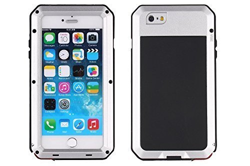 iPhone 6 Case, Shockproof Dustproof Waterproof iPhone 6S Case Aluminum Alloy Metal Gorilla Glass Cover Case For Apple iPhone 6 /iPhone 6S 4.7 inch-Silver (Glass Case Aluminum Gorilla Metal)