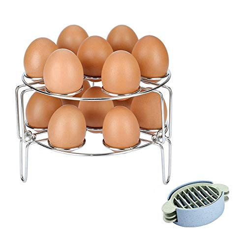 Multipurpose Vegetable Steamer Rack Basket Trivet, Stainless Steel Egg Cooker Rack, 2-Pack Steamer Rack Stand for Instant Pot, Pressure Cooker and Air Fryer Accessories, with Egg Slicer