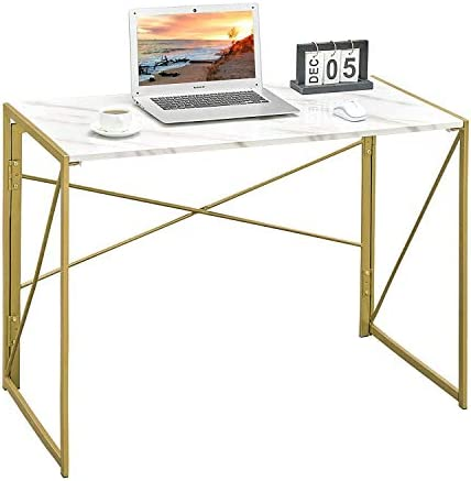 "Writing Computer Desk 39"" Modern Simple Study Desk Industrial Style Folding Laptop Table for Home Office Notebook Desk White Marble Desktop Gold Frame"