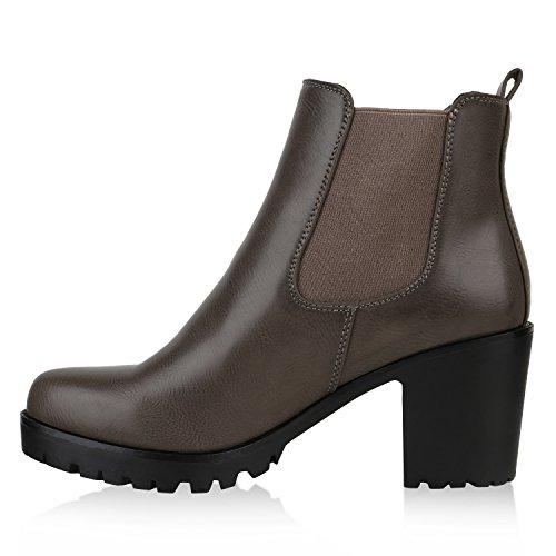 Stiefelparadies Damen Stiefeletten Chelsea Boots Profilsohle Schuhe Flandell Grau Brito