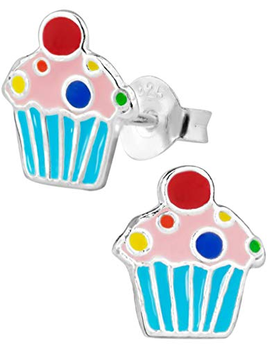 Hypoallergenic Sterling Silver Sweet Treats Stud Earrings for Kids (Blue Cupcake) -