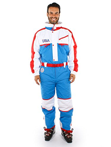 (Tipsy Elves USA Ski Suit - Red, White, and Blue Retro Ski Suit:)
