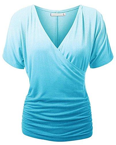 LemonGirl Women V-Neck Cotton Pullover T-Shirt Blouse Tops LightBlue