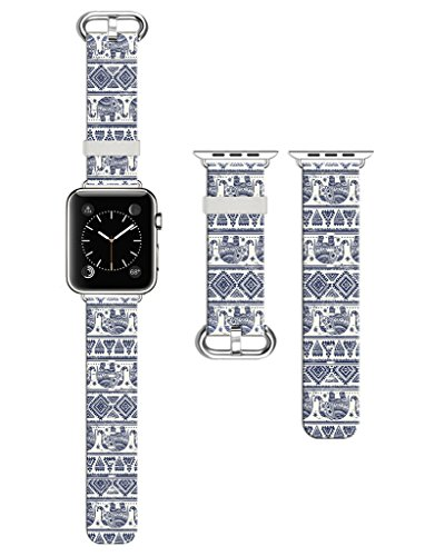 (Dsigo Replacement Band for Apple Watch 38mm Series 2 Series 1, Strap Leather Bands for iwatch, Leather Sport Style Wristband, Personalized Design, Tribal)