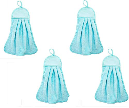 4 Pcs Hand Towels Absorbent Hanging Dry Towel Dish Cloth Cleaning Cloths Wipes Rags for Kitchen Bathroom Use