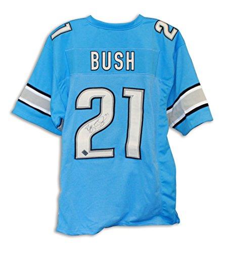 Reggie Bush Detroit Lions Autographed Blue Jersey -APE - Jersey Bush Reggie Replica