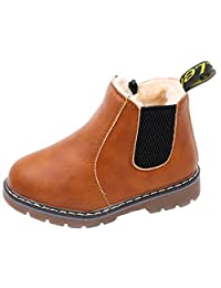 DADAWEN Baby's Boy's Girl's Casual Waterproof Side Zipper Ankle Boots (Toddler/Little Kid/Big Kid)